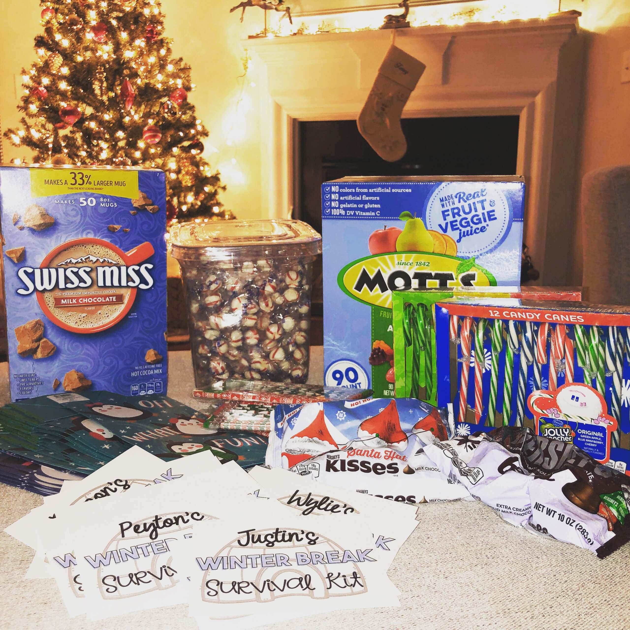 Items for winter break survival kit