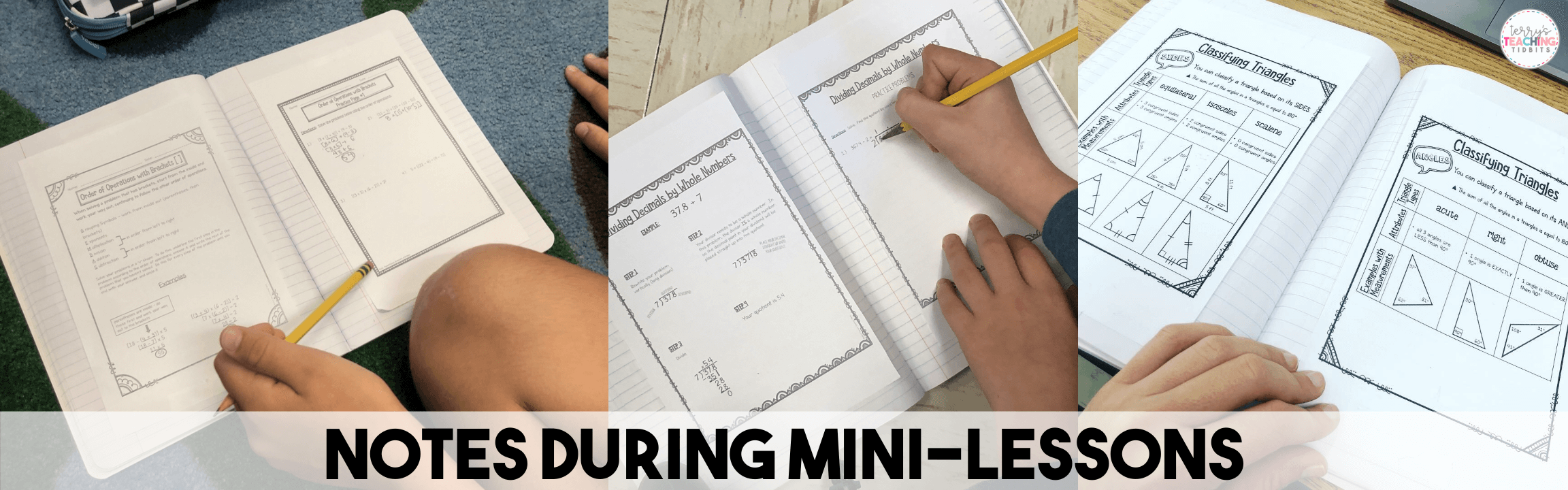 Notes during mini-lessons