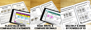 Image of 3 Resources: place value; read, write, & compare decimals, multiply & divide by powers of 10