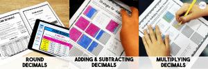 Image of 3 Resources: Round Decimals, Add & Subtract Decimals, Multiply Decimals